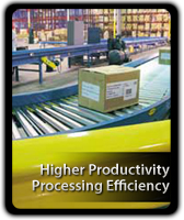 Higher productivity & processing efficiency with Hytrol Conveyors.